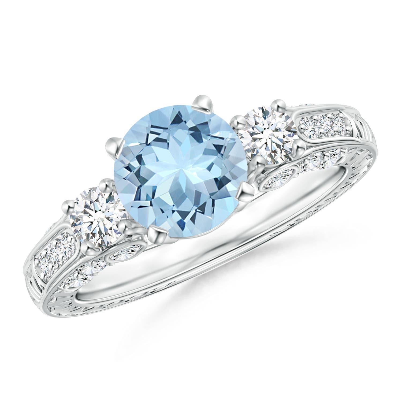 Three Stone Round Aquamarine and Diamond Ring with Accents - Angara.com