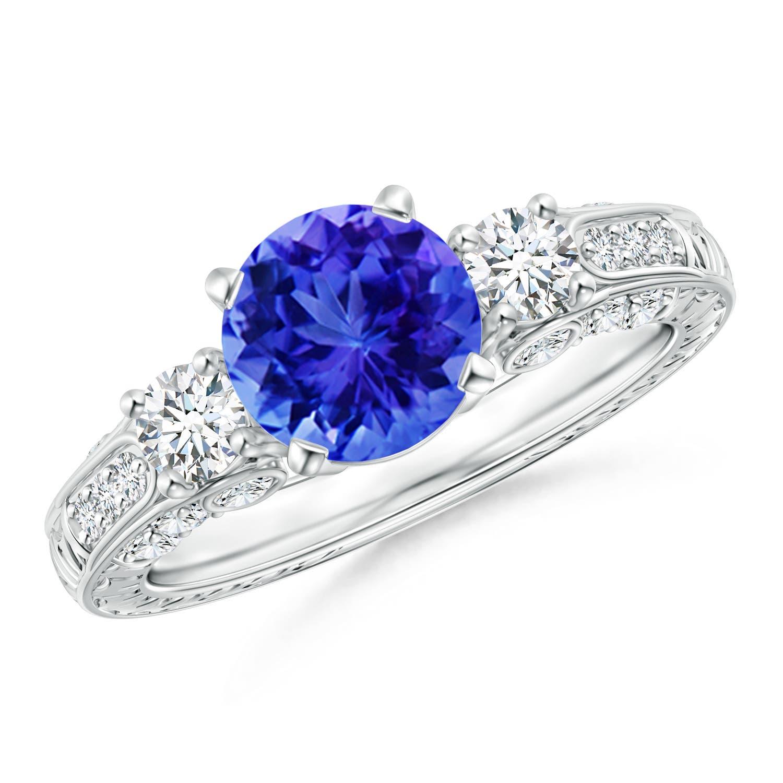 Three Stone Round Tanzanite and Diamond Ring with Accents  - Angara.com