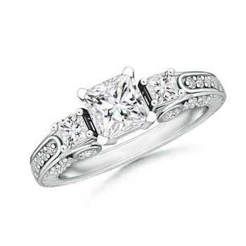3 Stone Princess Cut Diamond Ring with Diamond Accents - Angara.com
