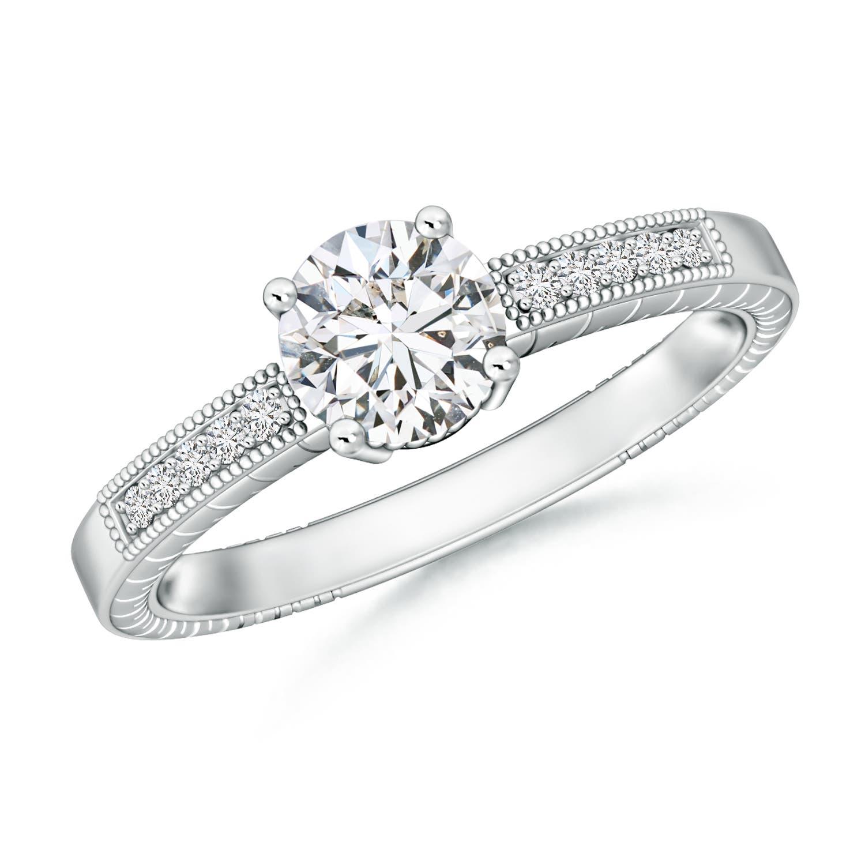 Round Diamond Solitaire Ring with Milgrain Detailing - Angara.com