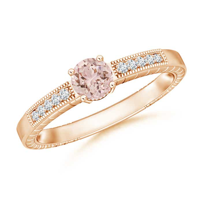 Round Morganite Solitaire Ring with Milgrain Detailing - Angara.com