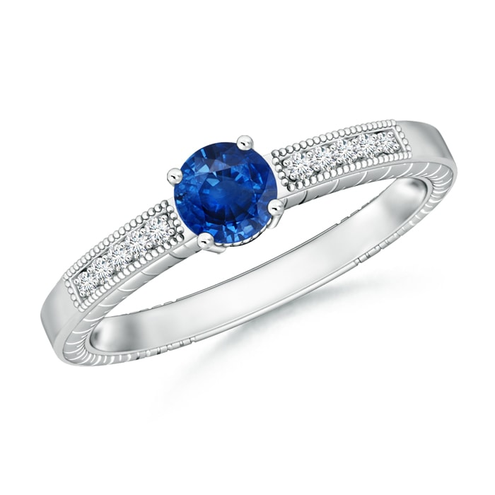 Round Sapphire Solitaire Ring with Milgrain Detailing - Angara.com