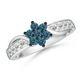Round Enhanced Blue Diamond Flower Ring with White Diamond Accents - Angara.com