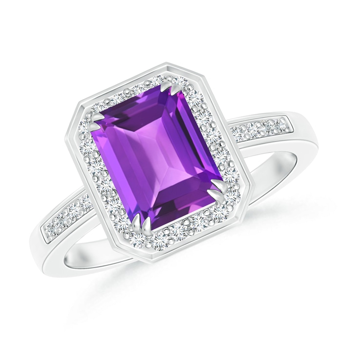 Angara Emerald-Cut Amethyst Ring in Platinum ktkaHk9zS3