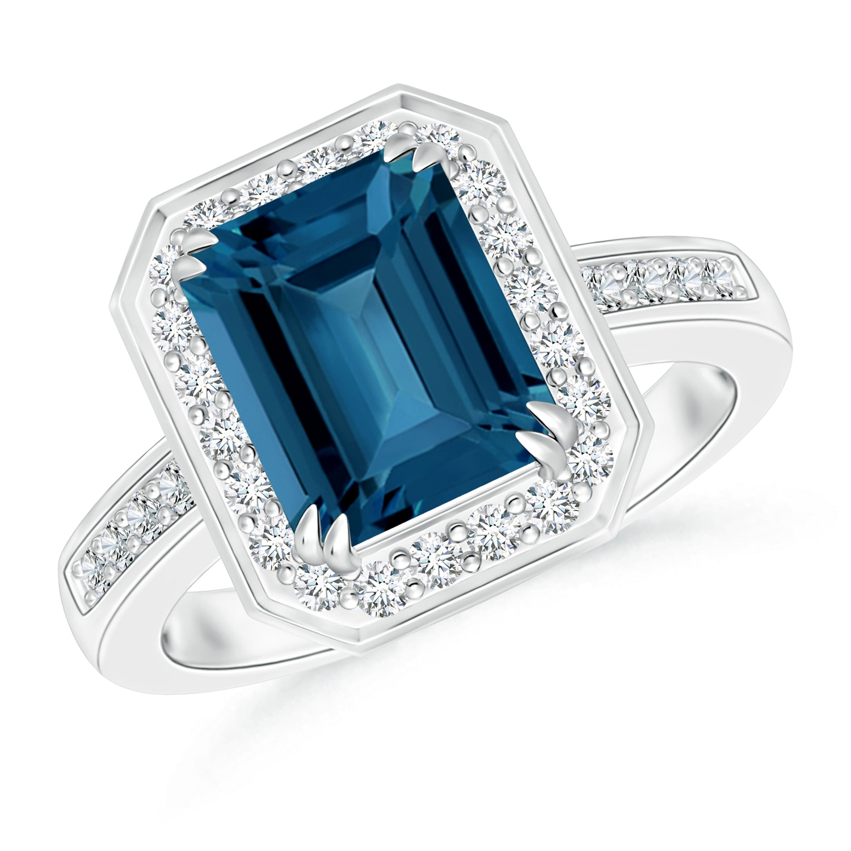 Emerald Cut London Blue Topaz Ring with Diamond Halo - Angara.com