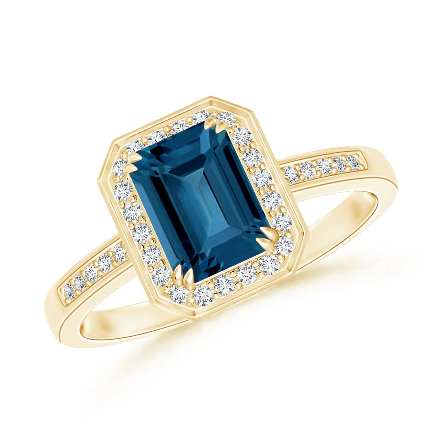 Angara Diamond Halo and Oval London Blue Topaz Engagement Ring in White Gold PK6x9p2
