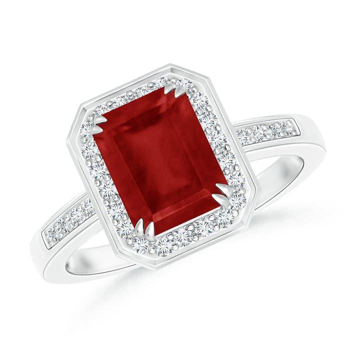 Diamond Halo Emerald Cut Ruby Engagement Ring Angara