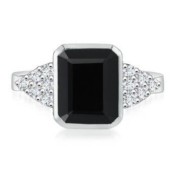 Bezel Emerald Cut Black Onyx Cocktail Ring with Diamond Accents - Angara.com