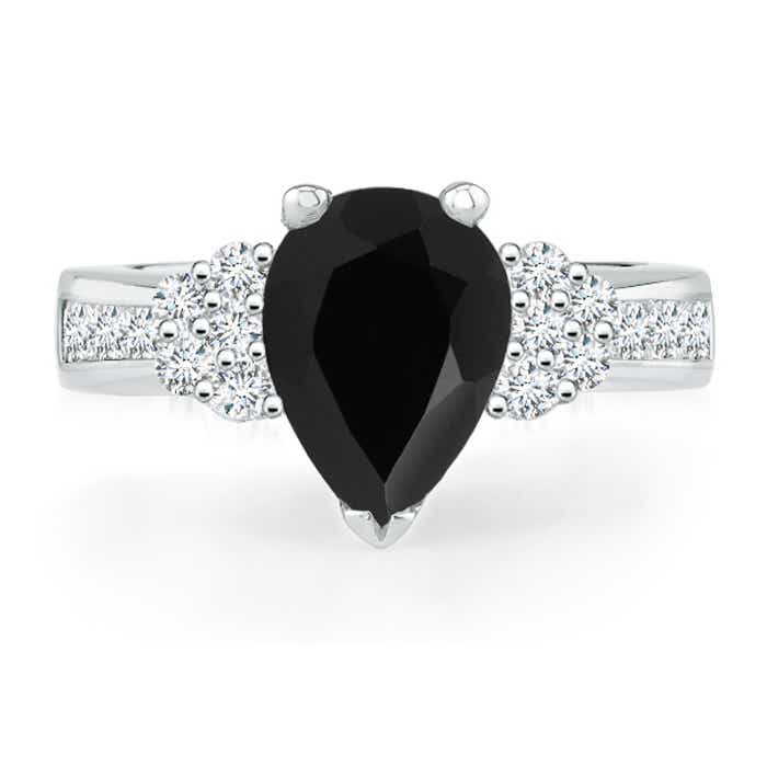 Pear Black Onyx Solitaire Ring with Diamond Accents - Angara.com