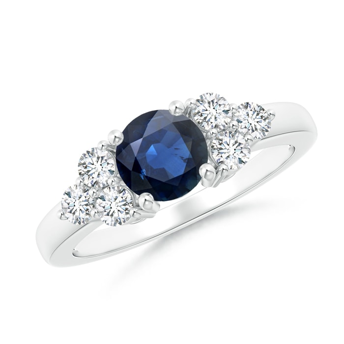 Round Sapphire Solitaire Ring With Trio Diamonds - Angara.com