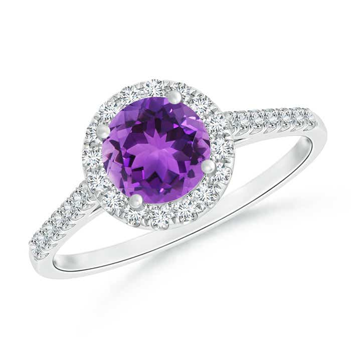 Round Amethyst Halo Ring with Diamond Accents - Angara.com