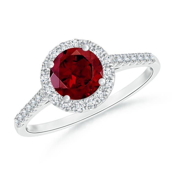 Round Garnet Halo Ring with Diamond Accents - Angara.com