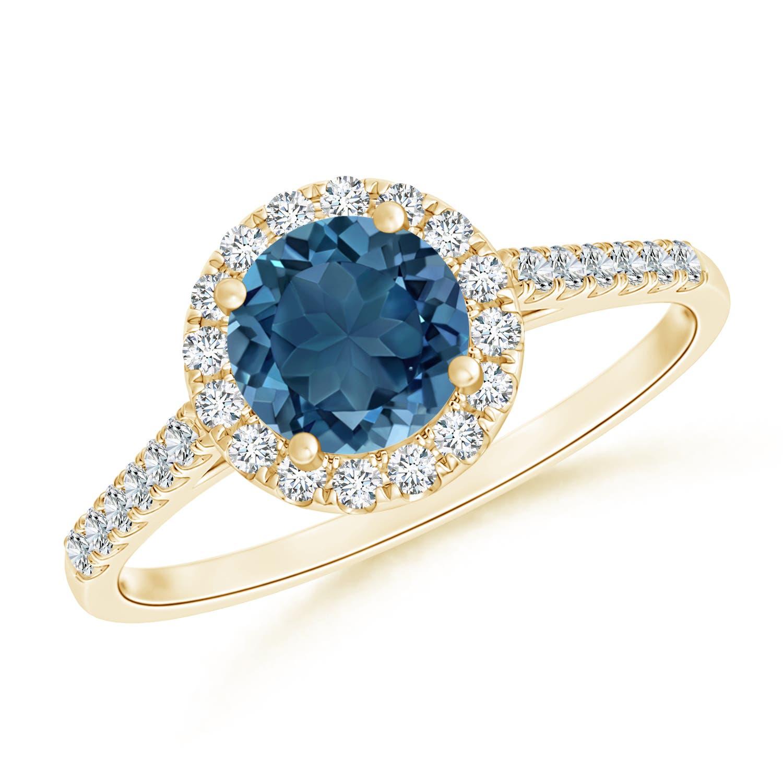 Angara Six-Prong Tanzanite and Diamond Halo Ring in 14k Yellow Gold mE7R3n