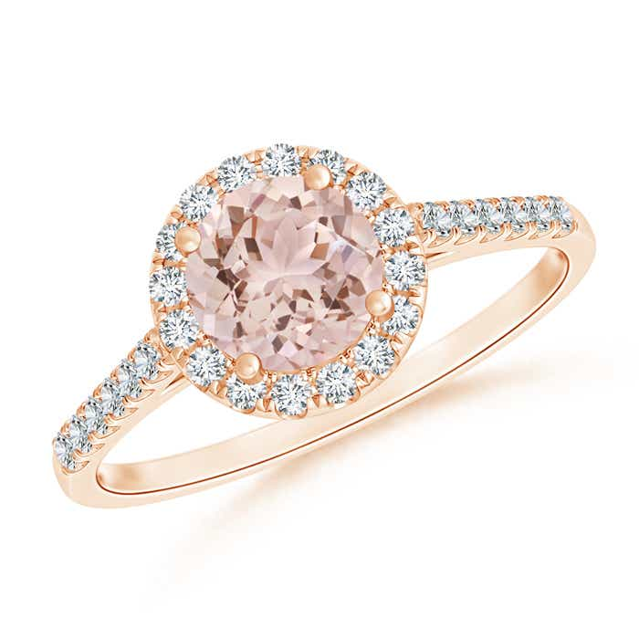 Cathedral Round Morganite Halo Ring with Diamond Accents - Angara.com