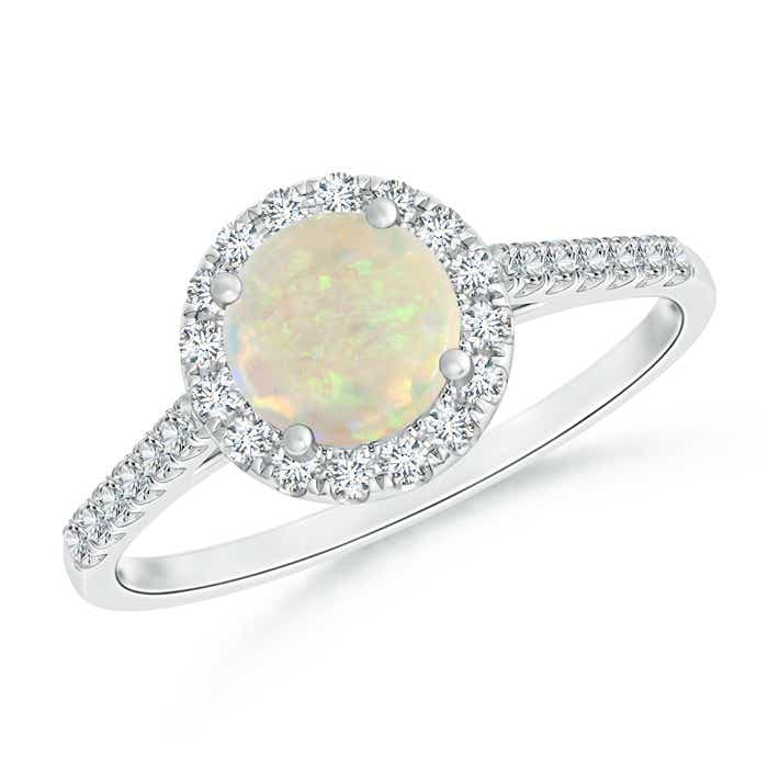 Angara Round Opal and Diamond Halo Engagement Ring in Platinum O12UK