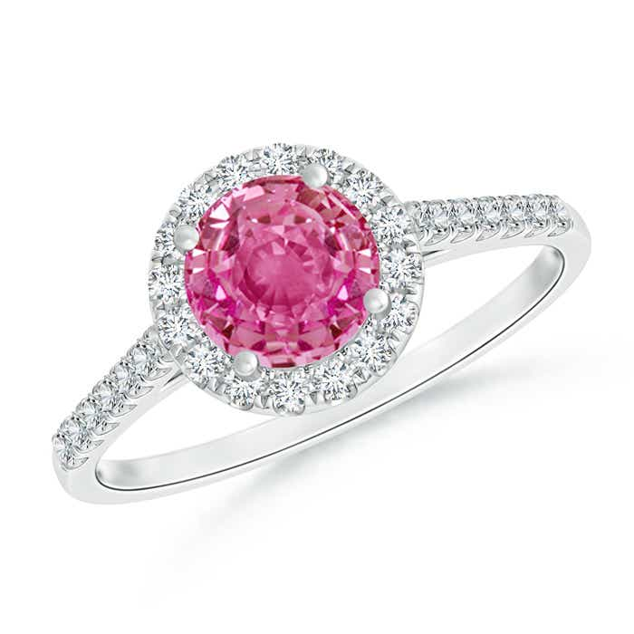 Round Pink Sapphire Halo Ring with Diamond Accents - Angara.com