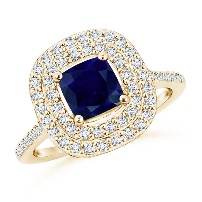 Cushion Sapphire Double Halo Engagement Ring with Diamonds