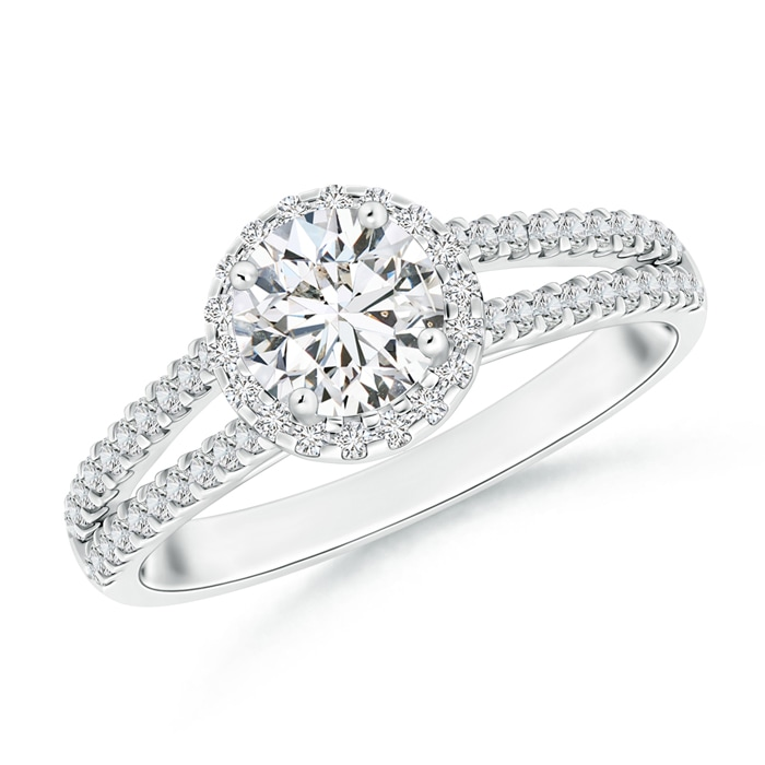 Split Shank Round Diamond Halo Engagement Ring - Angara.com