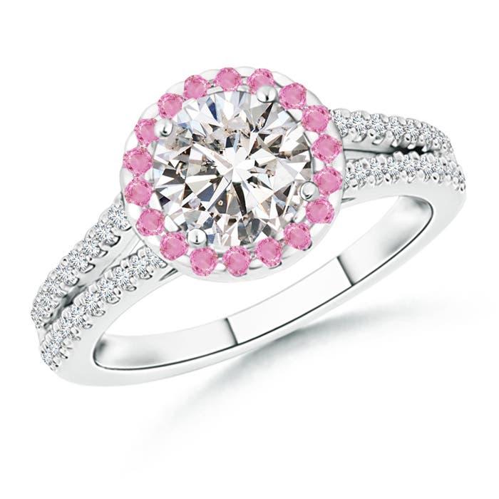 Diamond Split Shank Ring with Pink Sapphire Halo - Angara.com