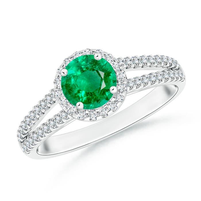 Twin Shank Emerald Halo Ring with Diamond Accents - Angara.com