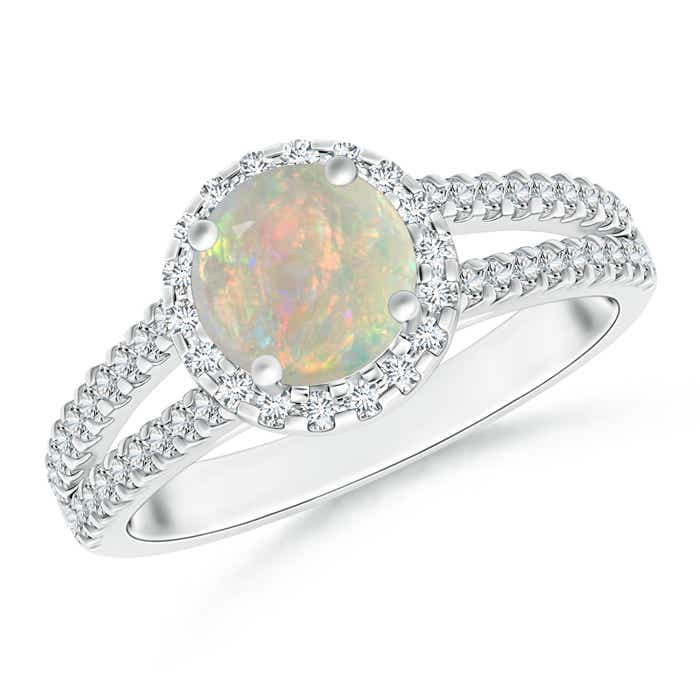 Angara Round Opal Diamond Halo Ring in 14K White Gold PZp3oKf