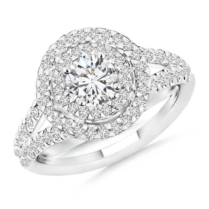 Double Halo Diamond Split Shank Ring With Diamond Accented Shoulders