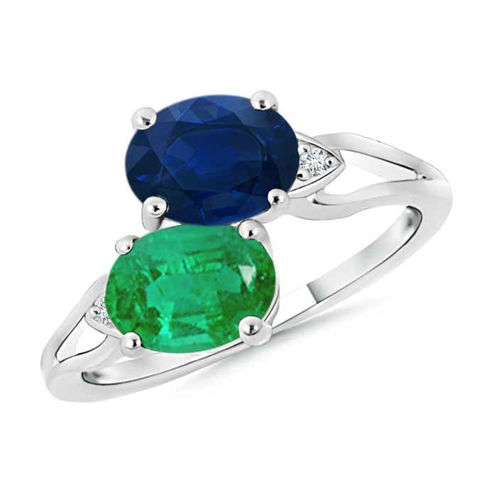 Two Stone Oval Emerald and Sapphire Split Shank Ring - Angara.com