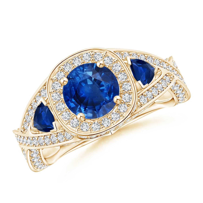 Diamond Halo Blue Sapphire Criss Cross Ring - Angara.com