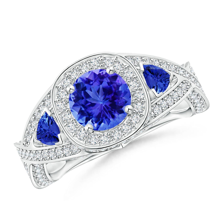 Angara Diamond Encrusted Ribbon Shank Blue Sapphire Halo Ring in White Gold cOaAkI