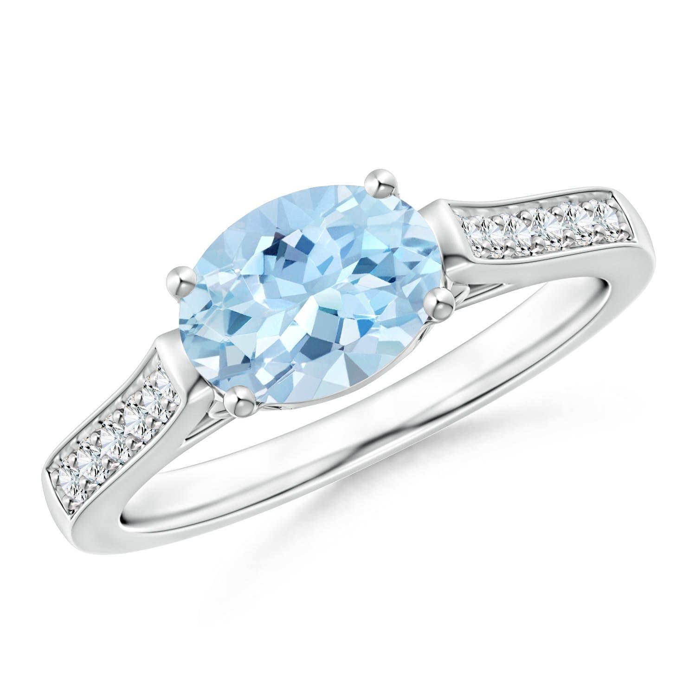 Angara Cushion sideways Aquamarine and Round Diamond Three Stone Ring rMj2umIKJ