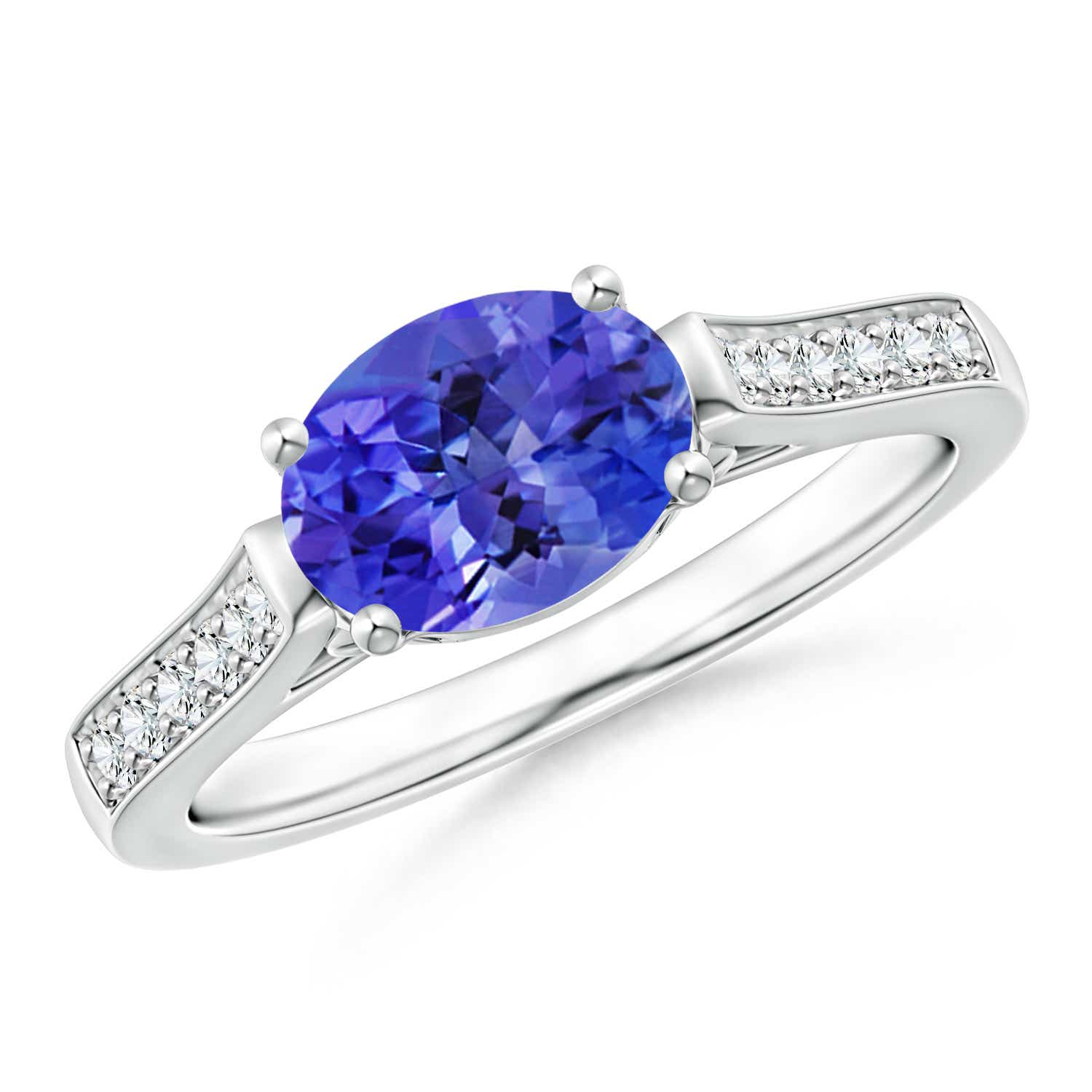 Angara Solitaire Oval Tanzanite Bypass Ring in Rose Gold 732J2AA1