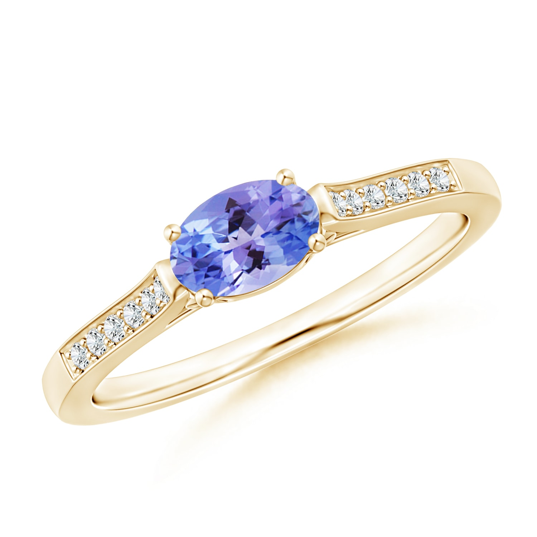 East West Set Oval Diamond Ring