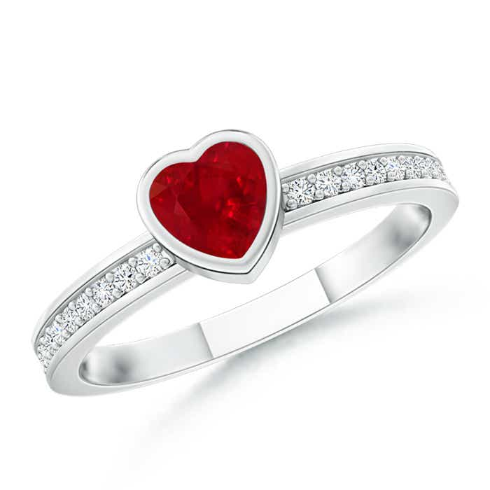 Bezel Heart Ruby Promise Ring with Diamond Accents - Angara.com