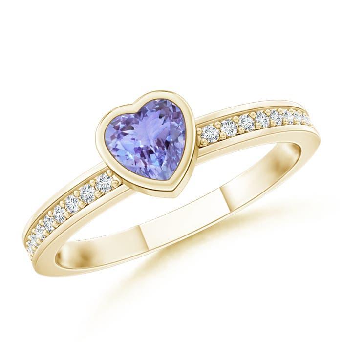Bezel Heart Tanzanite Promise Ring with Diamond Accents - Angara.com