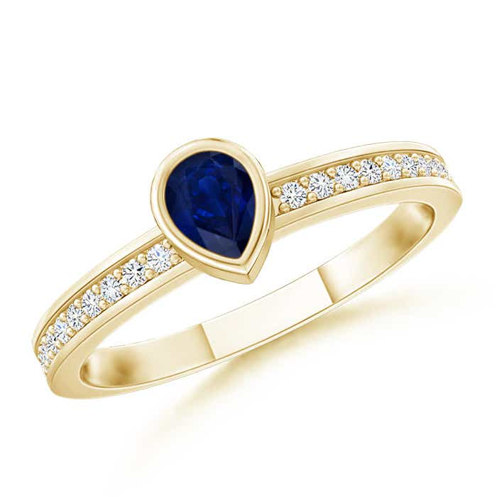 Bezel Pear Sapphire Stackable Ring with Diamond Accents - Angara.com