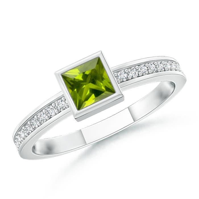 Bezel-Set Square Peridot Stackable Promise Ring - Angara.com