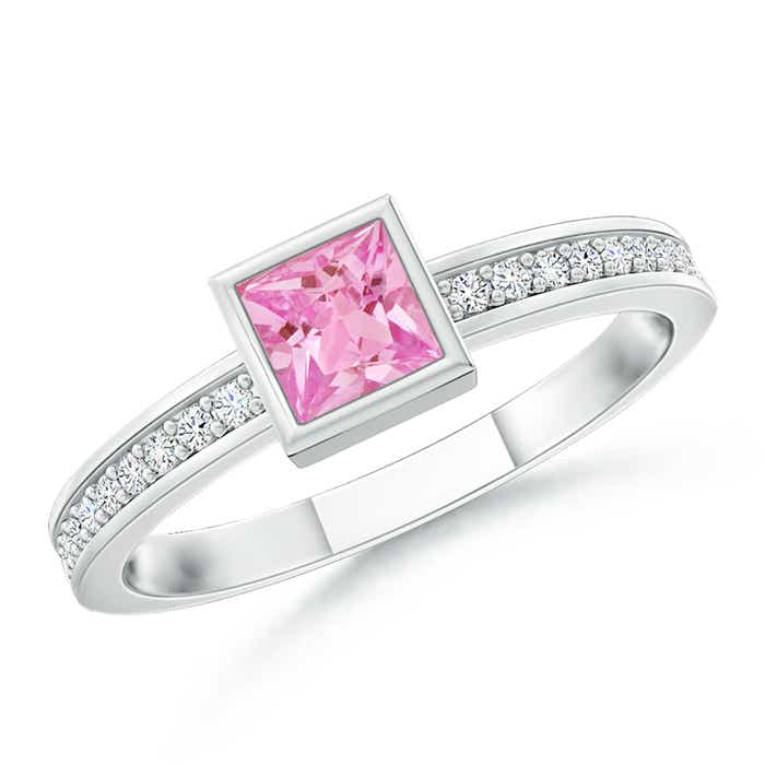 bezel set square pink sapphire stackable promise ring angara