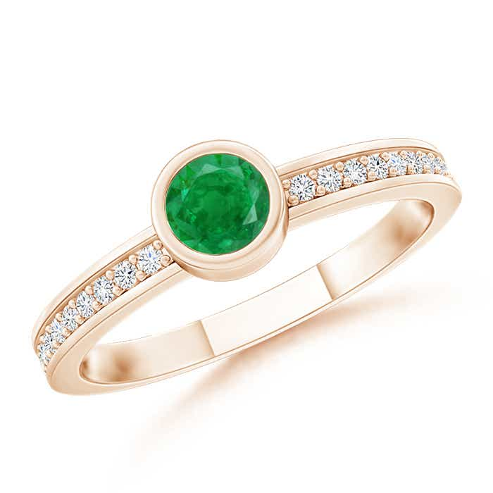 Bezel Round Emerald Stackable Ring with Diamond Accents