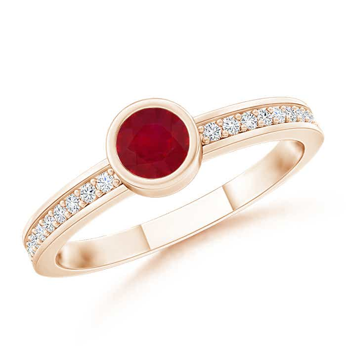 Bezel Round Ruby Stackable Ring with Diamond Accents