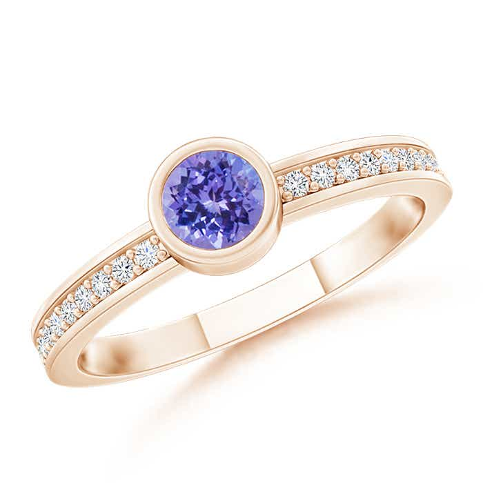 Bezel Round Tanzanite Stackable Ring with Diamond Accents - Angara.com