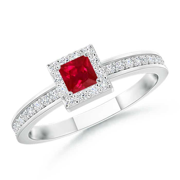 Square Ruby Stackable Ring with Diamond Halo - Angara.com
