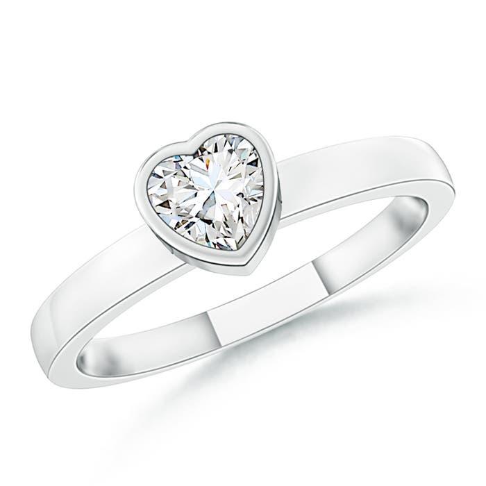 Bezel-Set Solitaire Heart Diamond Promise Ring - Angara.com