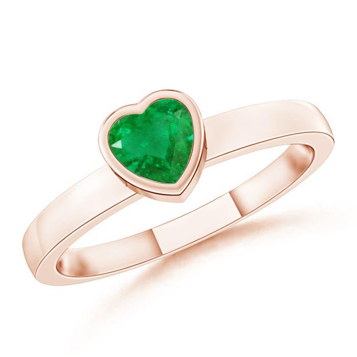 Bezel-Set Solitaire Heart Emerald Promise Ring