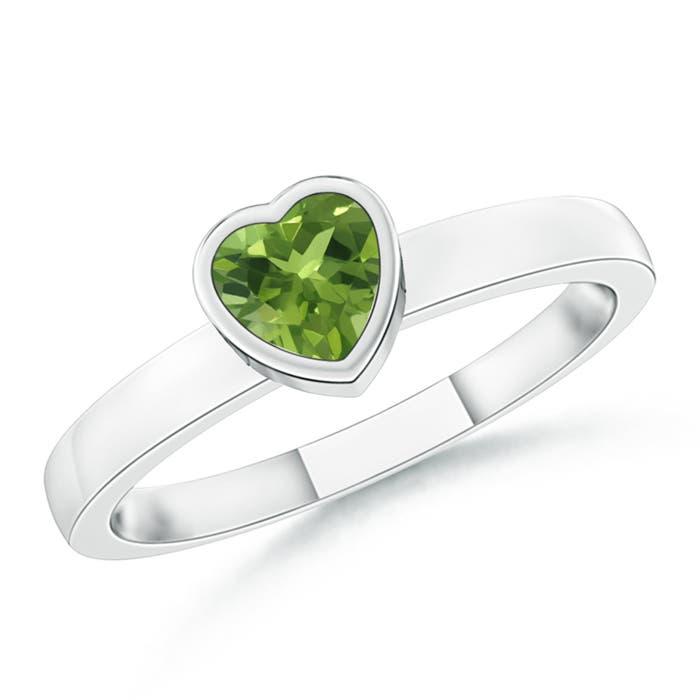 Bezel-Set Solitaire Heart Peridot Promise Ring | Angara
