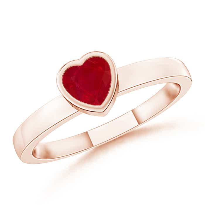Bezel-Set Solitaire Heart Ruby Promise Ring