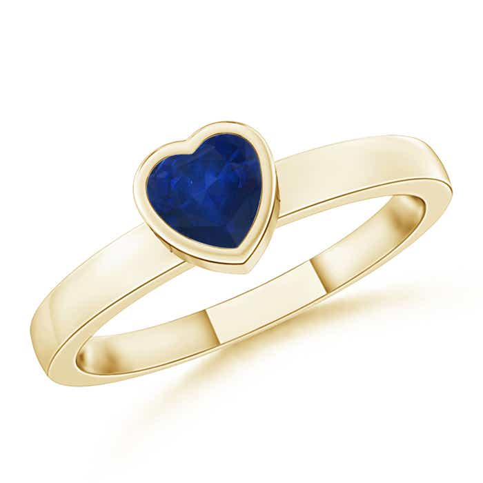 Bezel-Set Solitaire Heart Blue Sapphire Promise Ring - Angara.com