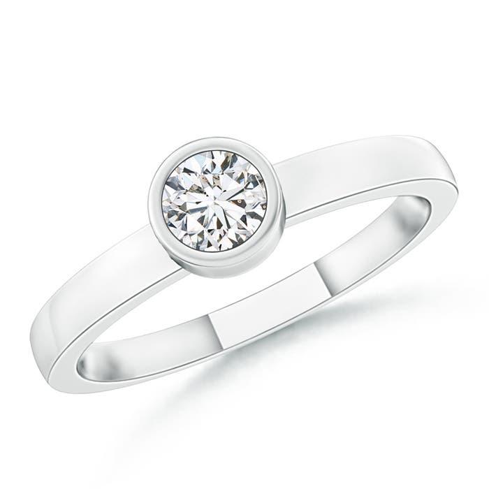 Bezel-Set Solitaire Round Diamond Stackable Ring - Angara.com