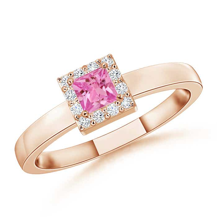 Angara Square Pink Sapphire and Diamond Promise Ring in White Gold tBjgAz