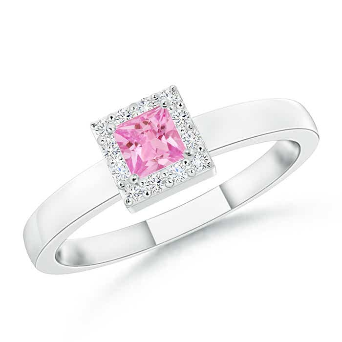Square Pink Sapphire Halo Promise Ring with Diamonds - Angara.com