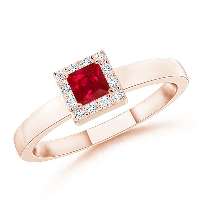 Square Ruby Halo Promise Ring with Diamonds - Angara.com